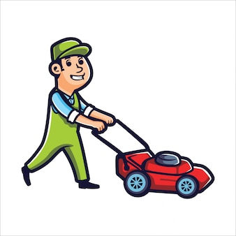 Cartoon lawn mower boy