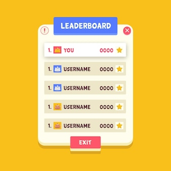 Cartoon leaderboard on yellow background