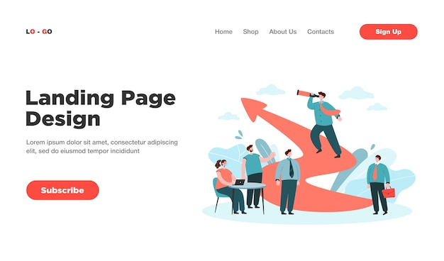 ビジネスチャレンジのランディングページでの漫画のリーダーシップとチームワーク。ランディングページ