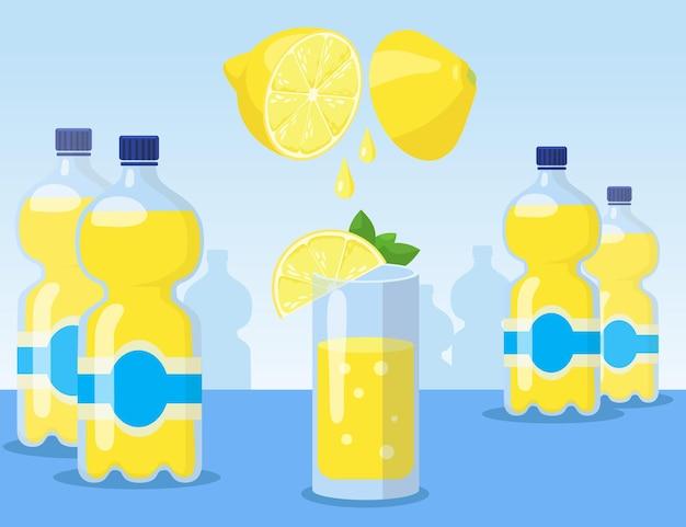 Cartoon lemonade in glass and bottles flat illustration. process of making yellow lemonade with sliced lemons on blue