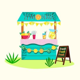 Cartoon lemonade stand with fresh lemons and freshly squeezed juice