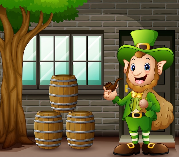 Cartoon leprechaun carrying sack of gold