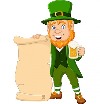 Cartoon leprechaun holding a mug beer and scroll parchment