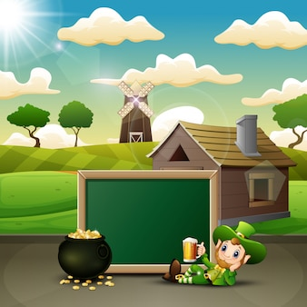 Cartoon leprechaun holding a mug beer with chalkboard and pot of gold coins