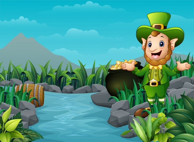 Cartoon leprechaun and a pot of gold in the nature