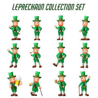 Cartoon leprechaun set in different poses