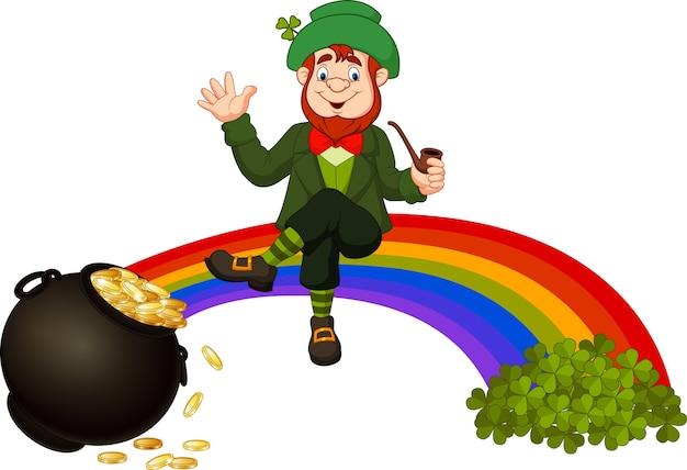 Cartoon leprechaun sitting on the rainbow