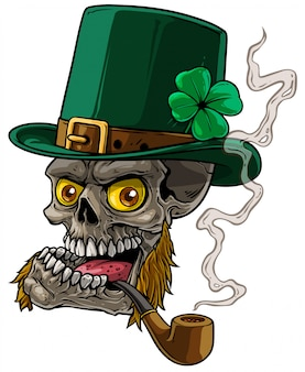 Cartoon leprechaun skull with whiskers and pipe