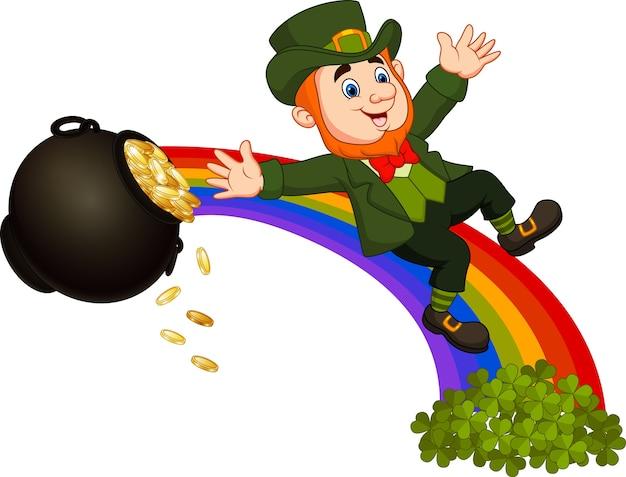 Cartoon leprechaun sliding down the rainbow
