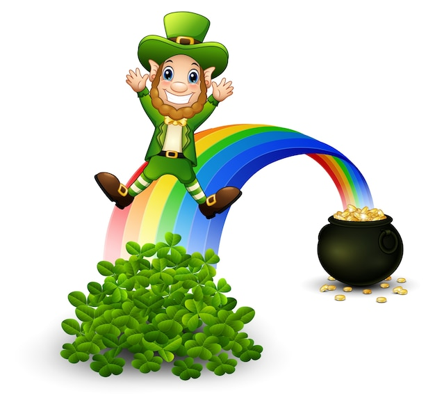Cartoon leprechaun sliding down the rainbow