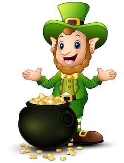 Cartoon leprechaun with a pot of gold coins