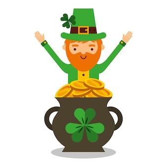 Cartoon leprechaun with pot golden coins treasure