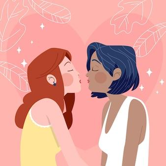 Cartoon lesbian kiss illustration
