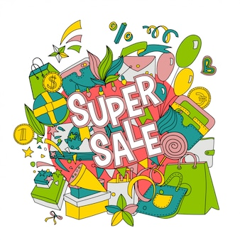 Cartoon lettering super sale in doodle style