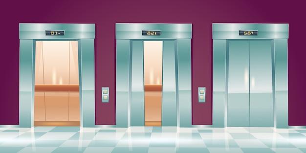 Porte dell'ascensore del fumetto, ascensori vuoti nel corridoio dell'ufficio con porte chiuse, leggermente socchiuse e aperte. interno della hall con cabine passeggeri o cargo, pulsantiera e illustrazione dell'indicatore del pavimento