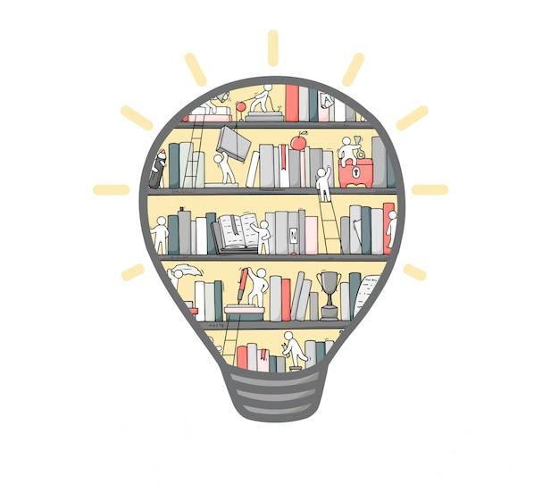 Cartoon lightbulb with bookshelves inside.
