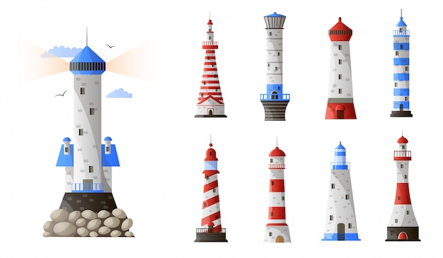 Cartoon lighthouse different types set isolated on white background