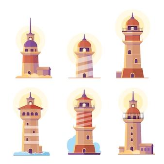Cartoon lighthouse set