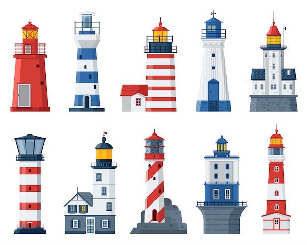Набор векторных мультфильм маяк. красное и синее море, путеводные огни, дома.