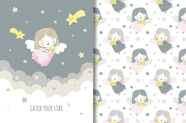 Cartoon liittle angel with stars. llustration and seamless pattern for kids