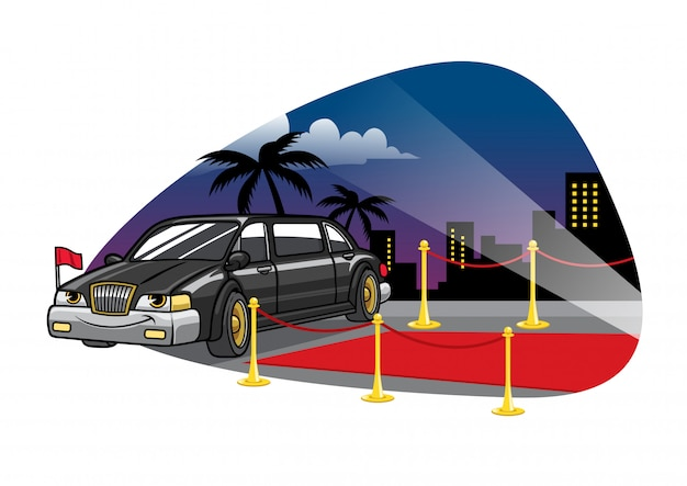Cartoon limousine car at the red carpet
