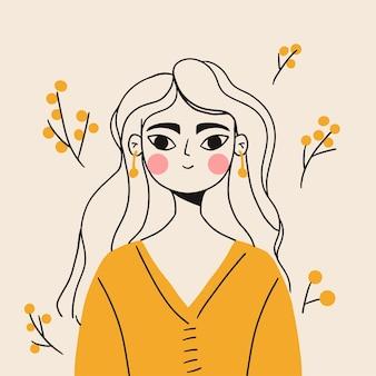 黄色のドレスを着た漫画の線形の女の子