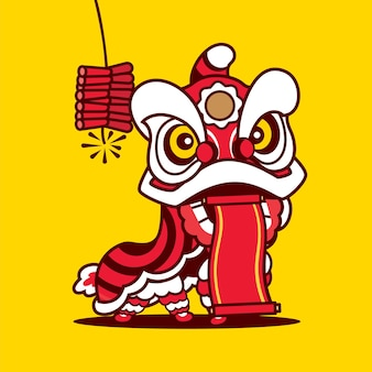 Cartoon lion dance holding empty spring couplet with fire cracke