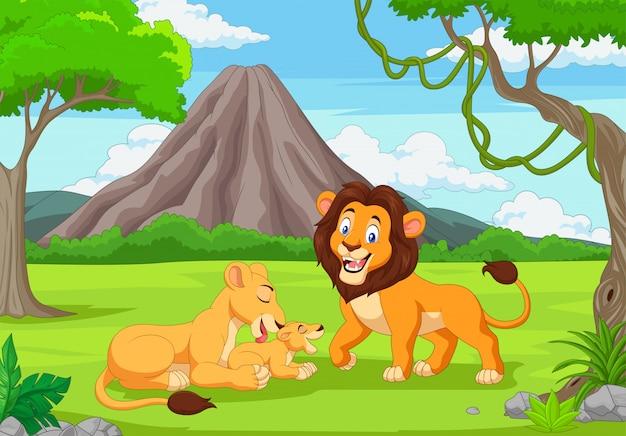 정글에서 만화 사자 가족