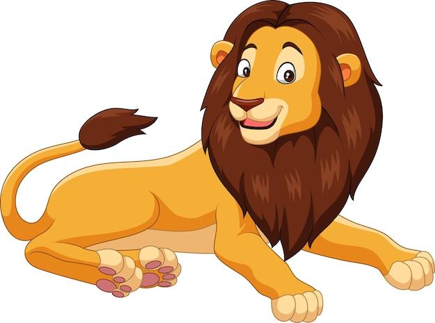 白い背景で隔離された漫画のライオン