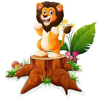 Cartoon lion posing on tree stump