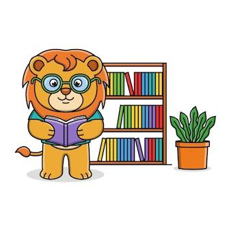 Cartoon lion reading book   illustration design
