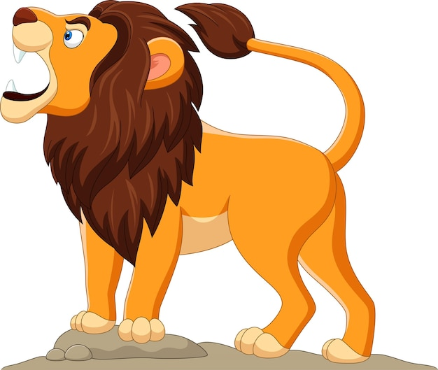 Cartoon lion roaring isolated on white