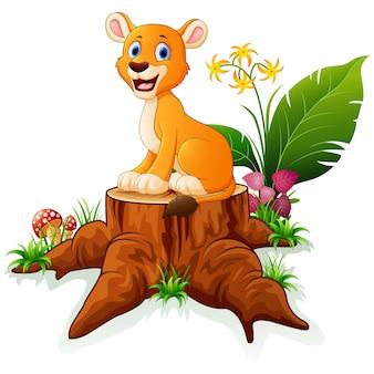 Cartoon lion sitting on tree stump