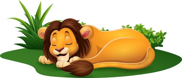 草の上で寝ている漫画のライオン