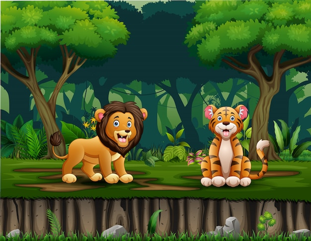 Cartoon lion and tiger living in the jungle