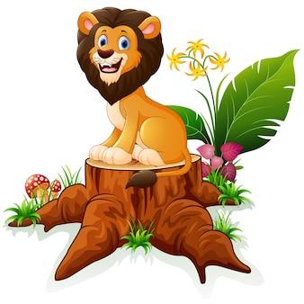 Cartoon lion on tree stump