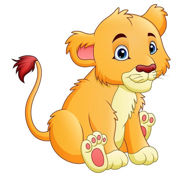 Мультяшный львица изолирован на белом фоне