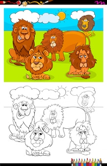 Cartoon of lions animals coloring book