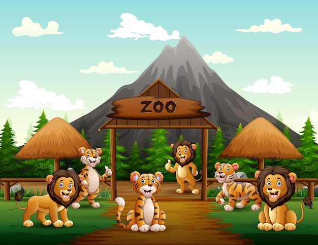 Cartoon lions and tigers playing in the zoo entrance