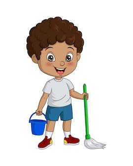 Cartoon little african boy cleaning floor