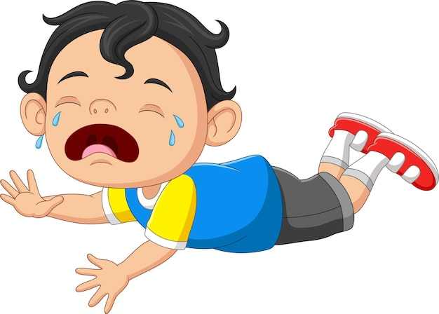 Cartoon little baby boy crying with open mouth
