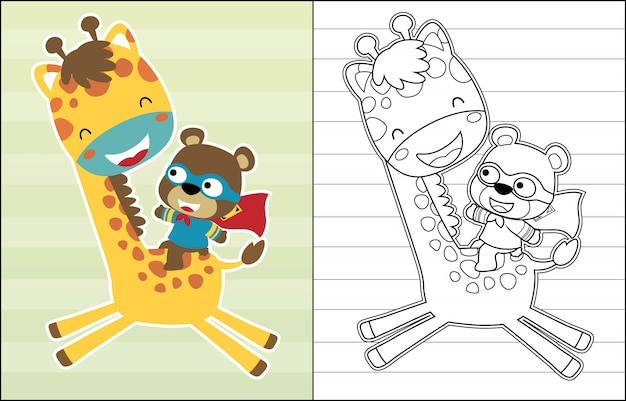 Cartoon of little bear riding cute giraffe