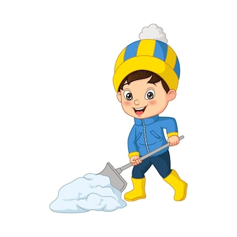雪を掃除する漫画の小さな男の子