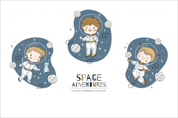 Cartoon little boy cosmonauts collection. hand drawn illustration