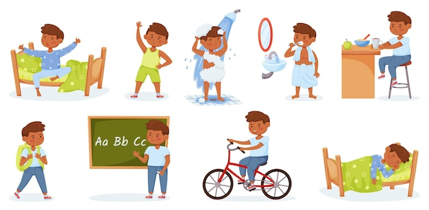 Cartoon little boy daily routine activities happy child waking up exercising studying vector set