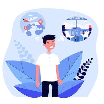 Мультфильм маленький мальчик мечтает стать пилотом. плоские векторные иллюстрации. малыш думает о путешествии по воздуху, воображая кабину. будущее, мечта, профессия, концепция полета для дизайна баннера или целевой страницы
