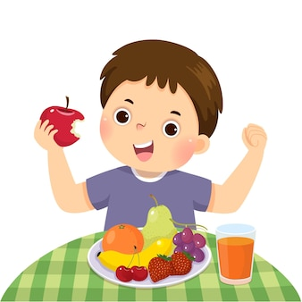 Cartoon of a little boy eating red apple and showing his strength