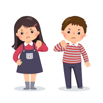 Cartoon of a little boy and girl showing thumbs down with negative expression.