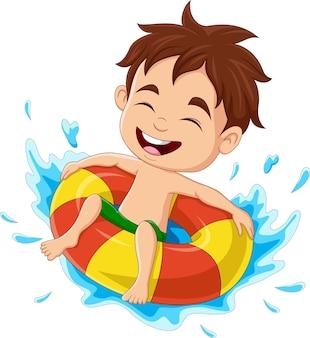 Cartoon little boy having fun in swimming pool