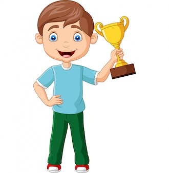 Cartoon little boy holding gold trophy